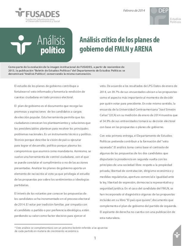 Febrero de 2014  DEP Estudios Políticos  Análisis político  Análisis crítico de los planes de gobierno del FMLN y ARENA  C...