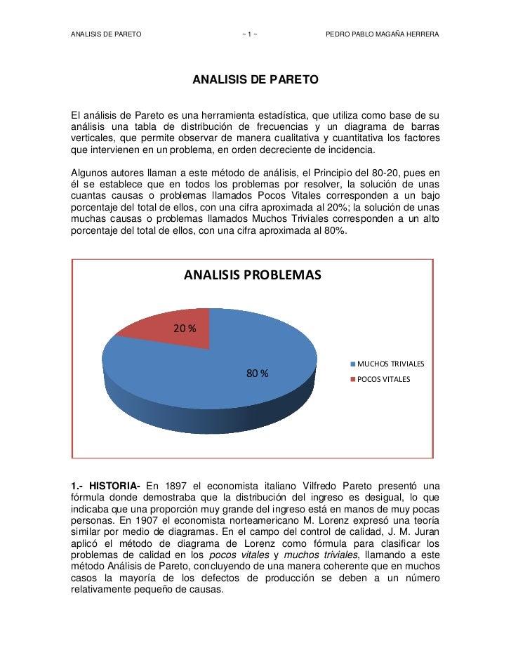 ANALISIS DE PARETO                    ~1~                PEDRO PABLO MAGAÑA HERRERA                           ANALISIS DE ...