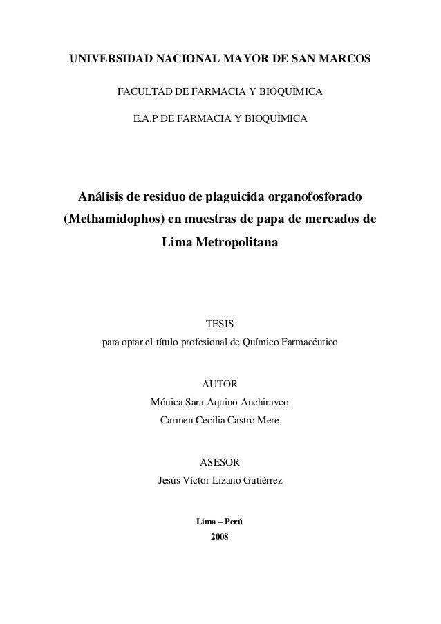 UNIVERSIDAD NACIONAL MAYOR DE SAN MARCOS         FACULTAD DE FARMACIA Y BIOQUÌMICA             E.A.P DE FARMACIA Y BIOQUÌM...