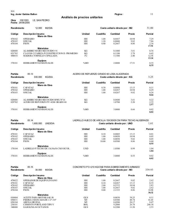 Analisis de precios unitarios for Precio mano de obra construccion