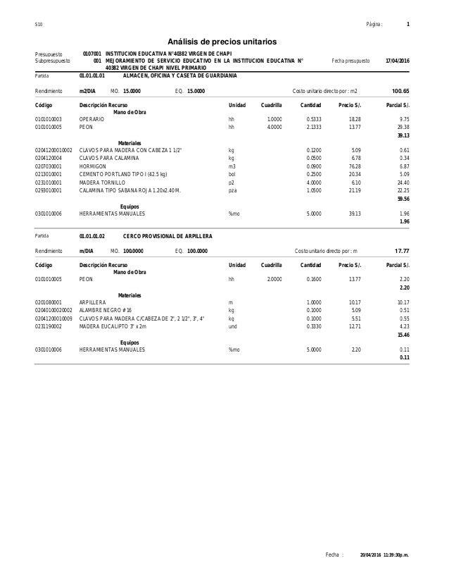 Analisis de precios unitarios for Precio metro cubico hormigon