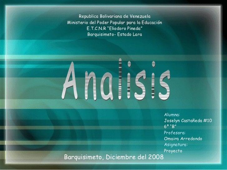 """Barquisimeto, Diciembre del 2008 <ul><li>Alumna: </li></ul><ul><li>Joselyn Castañeda #10 </li></ul><ul><li>6º """"B"""" </li></u..."""
