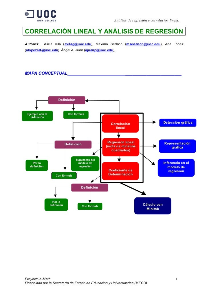 Análisis de regresión y correlación lineal.CORRELACIÓN LINEAL Y ANÁLISIS DE REGRESIÓNAutores:        Alicia Vila (avilag@u...