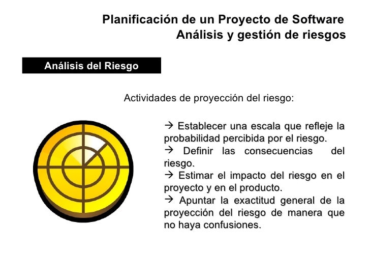 Planificación de un Proyecto de Software Actividades de proyección del riesgo: <ul><li>Establecer una escala que refleje l...