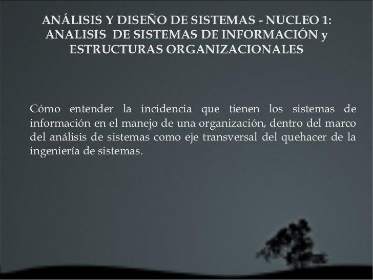 ANÁLISIS Y DISEÑO DE SISTEMAS - NUCLEO 1: ANALISIS  DE SISTEMAS DE INFORMACIÓN y ESTRUCTURAS ORGANIZACIONALES Cómo entende...