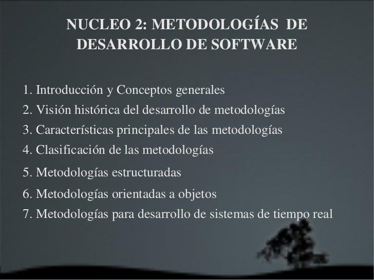 NUCLEO 2: METODOLOGÍAS  DE DESARROLLO DE SOFTWARE 1. Introducción y Conceptos generales 2. Visión histórica del desarrollo...