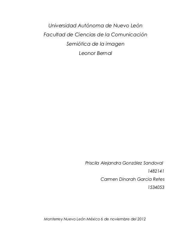 Universidad Autónoma de Nuevo LeónFacultad de Ciencias de la Comunicación           Semiótica de la imagen                ...
