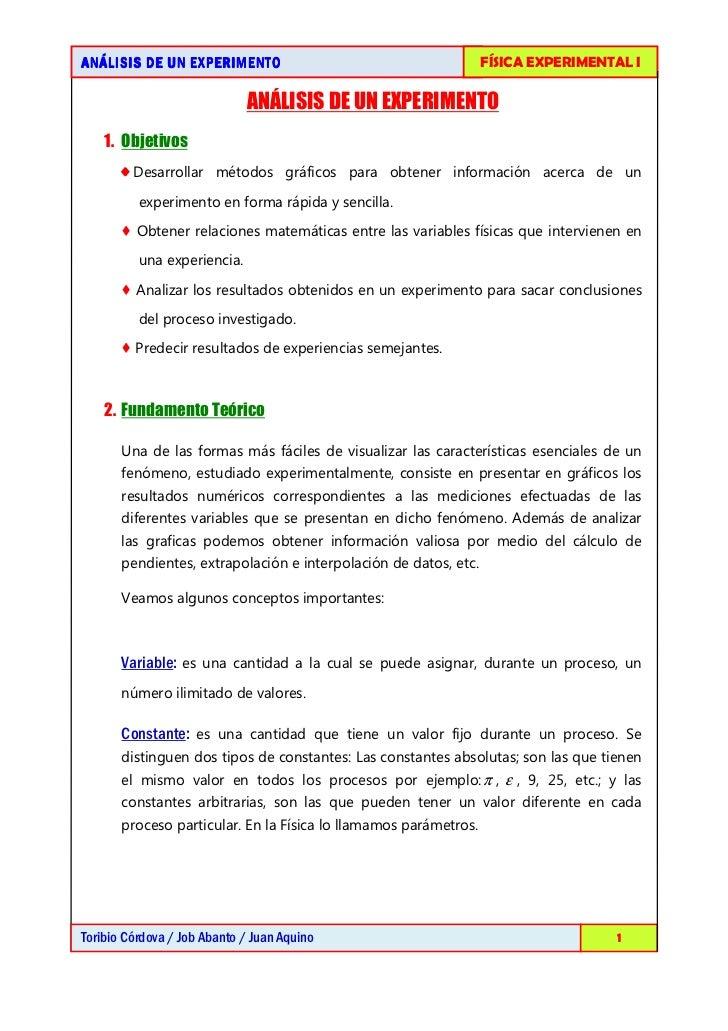 AN Á LISIS DE UN EXPERIMENTO                                      FÍSICA EXPERIMENTAL I                             ANÁLIS...