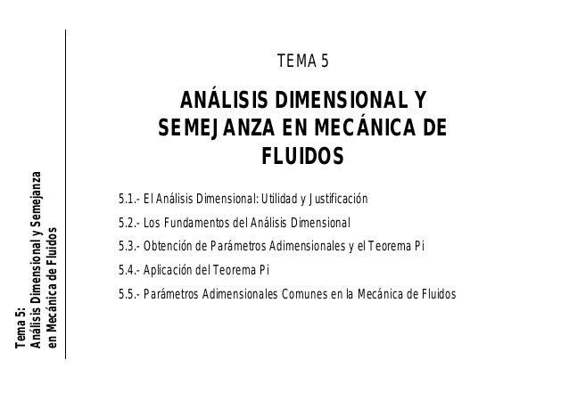 Tema5: AnálisisDimensionalySemejanza enMecánicadeFluidos TEMA 5 ANÁLISIS DIMENSIONAL Y SEMEJANZA EN MECÁNICA DE FLUIDOS 5....
