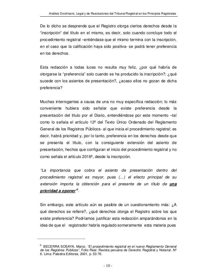 Análisis Doctrinario, Legal y de Resoluciones del Tribunal Registral en los Principios RegistralesDe lo dicho se desprende...