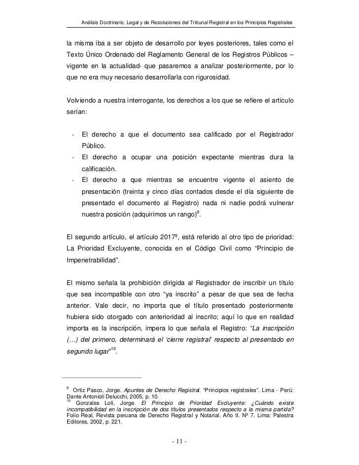 Análisis Doctrinario, Legal y de Resoluciones del Tribunal Registral en los Principios Registralesla misma iba a ser objet...