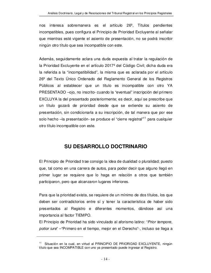 Análisis Doctrinario, Legal y de Resoluciones del Tribunal Registral en los Principios Registralesnos    interesa      sob...