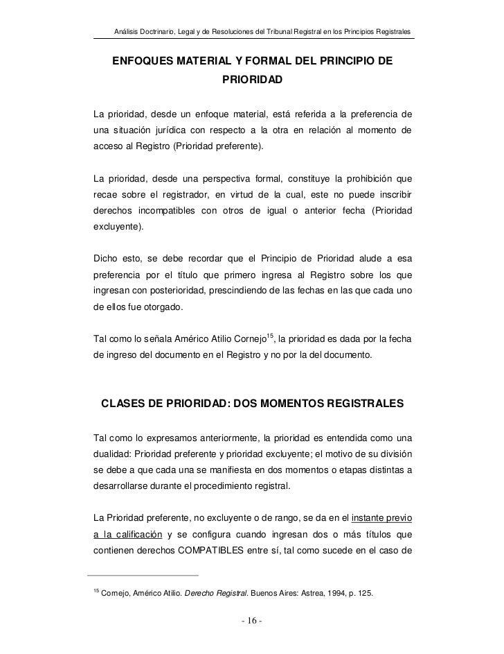 Análisis Doctrinario, Legal y de Resoluciones del Tribunal Registral en los Principios Registrales        ENFOQUES MATERIA...