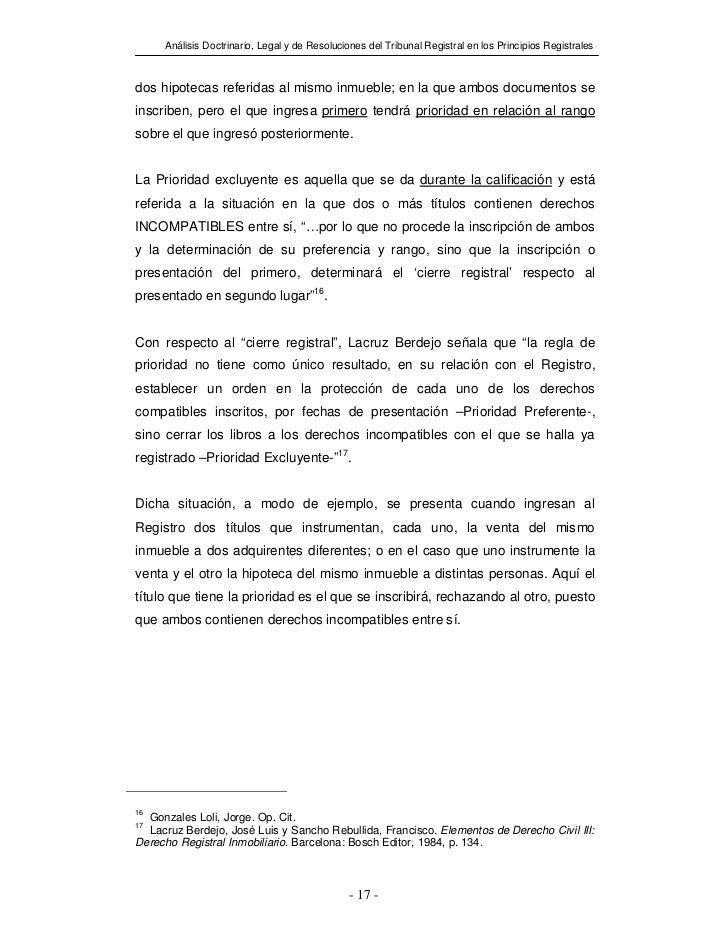 Análisis Doctrinario, Legal y de Resoluciones del Tribunal Registral en los Principios Registralesdos hipotecas referidas ...