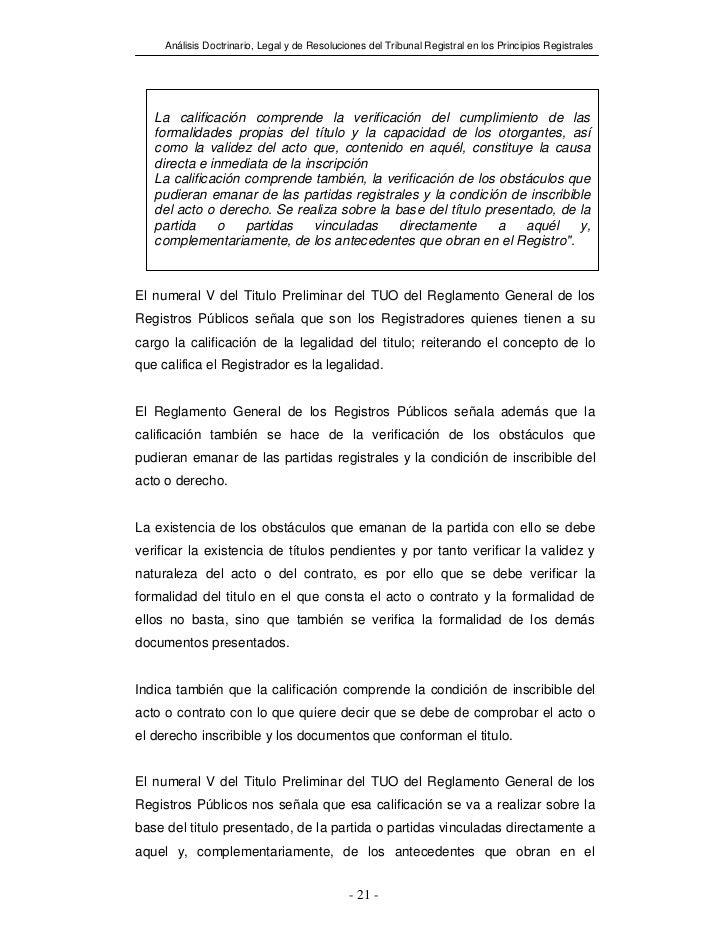 Análisis Doctrinario, Legal y de Resoluciones del Tribunal Registral en los Principios Registrales   La calificación compr...