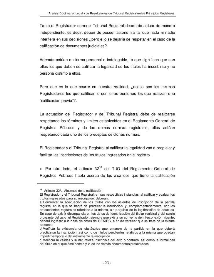 Análisis Doctrinario, Legal y de Resoluciones del Tribunal Registral en los Principios RegistralesTanto el Registrador com...