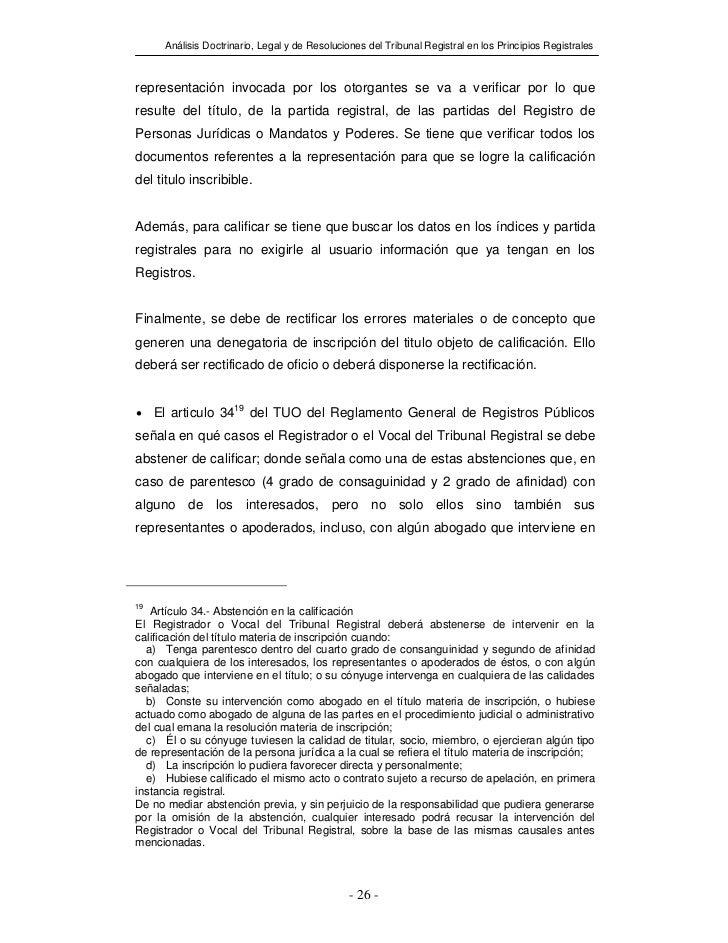 Análisis Doctrinario, Legal y de Resoluciones del Tribunal Registral en los Principios Registralesrepresentación invocada ...