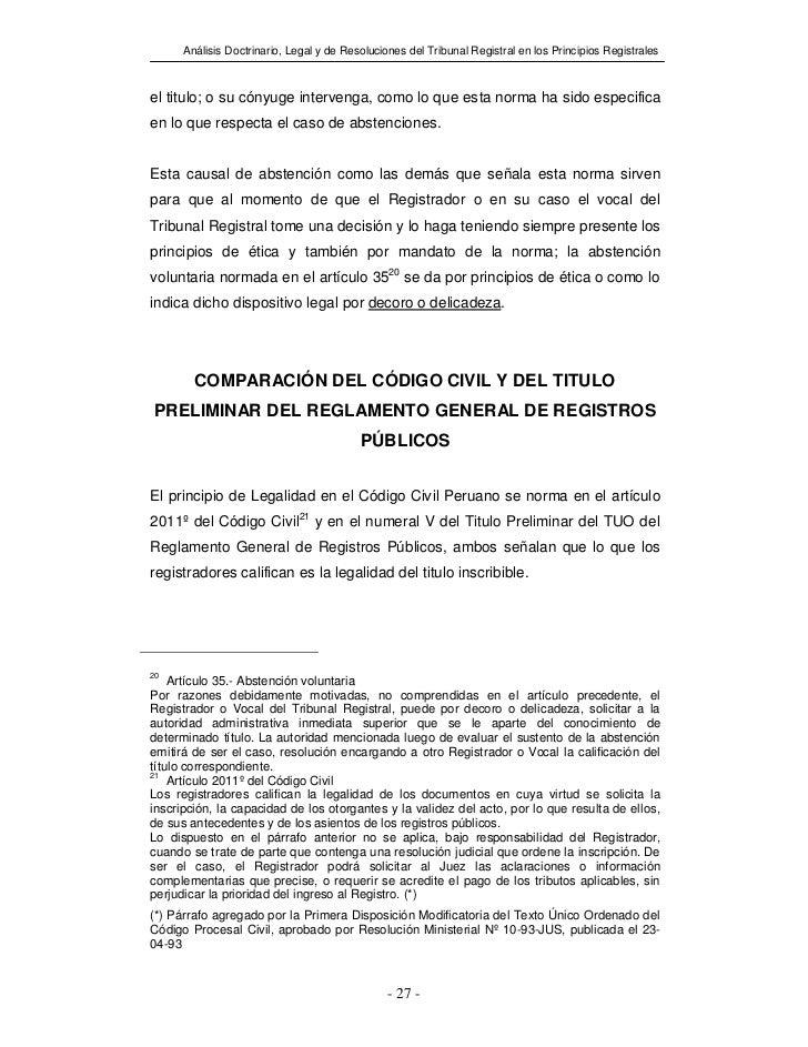 Análisis Doctrinario, Legal y de Resoluciones del Tribunal Registral en los Principios Registralesel titulo; o su cónyuge ...