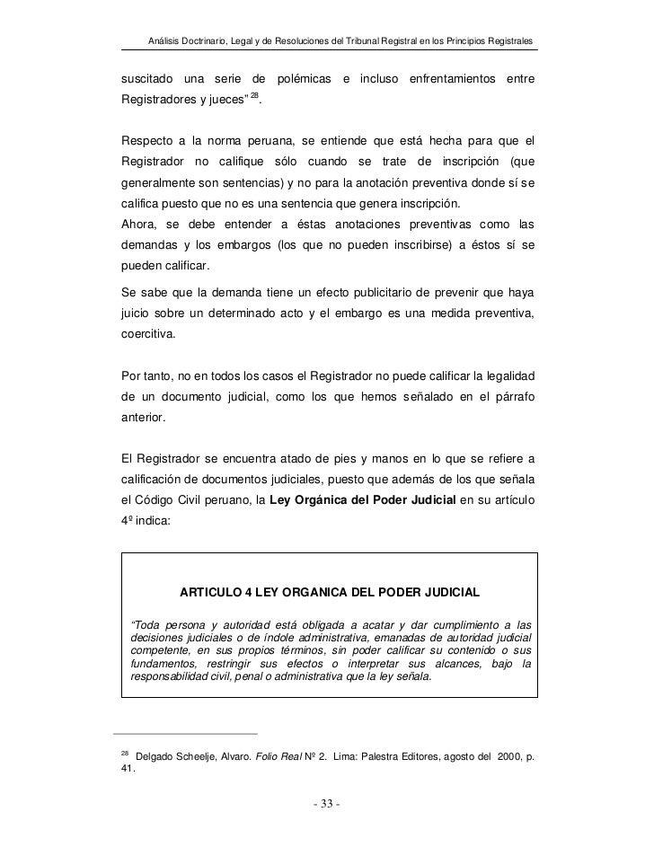 Análisis Doctrinario, Legal y de Resoluciones del Tribunal Registral en los Principios Registralessuscitado una serie de p...