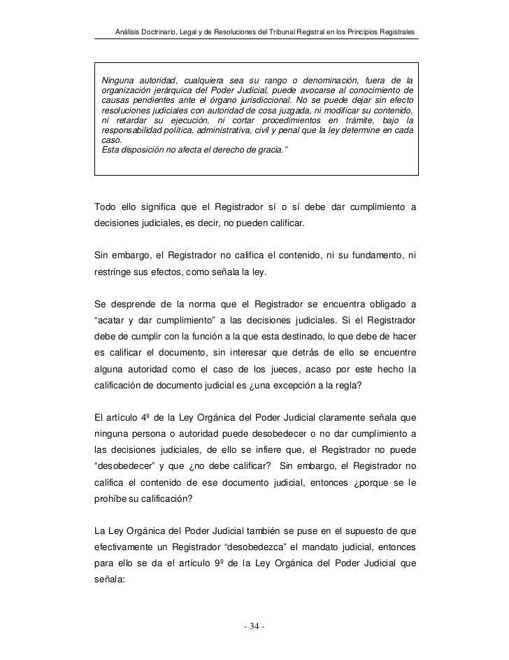 Análisis Doctrinario, Legal y de Resoluciones del Tribunal Registral en los Principios Registrales Ninguna autoridad, cual...