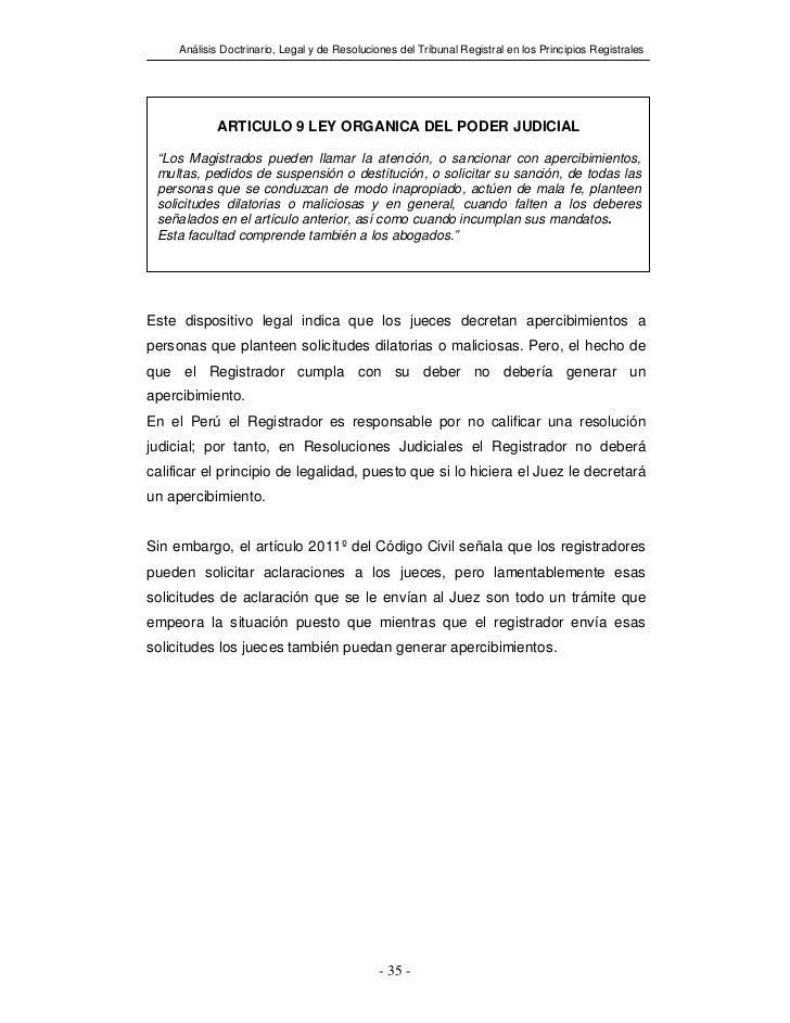 Análisis Doctrinario, Legal y de Resoluciones del Tribunal Registral en los Principios Registrales            ARTICULO 9 L...