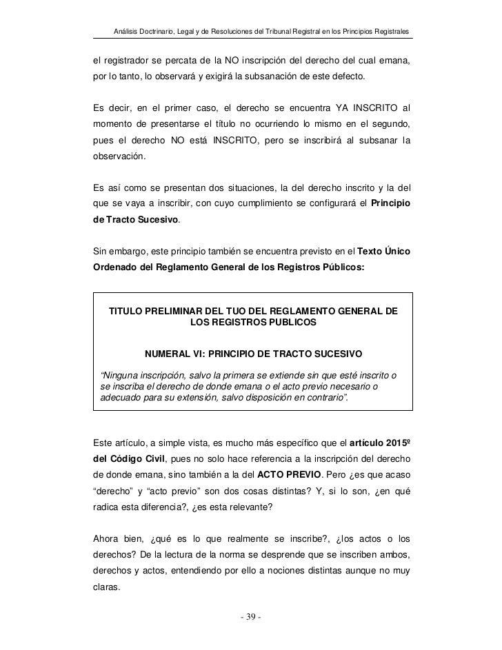 Análisis Doctrinario, Legal y de Resoluciones del Tribunal Registral en los Principios Registralesel registrador se percat...
