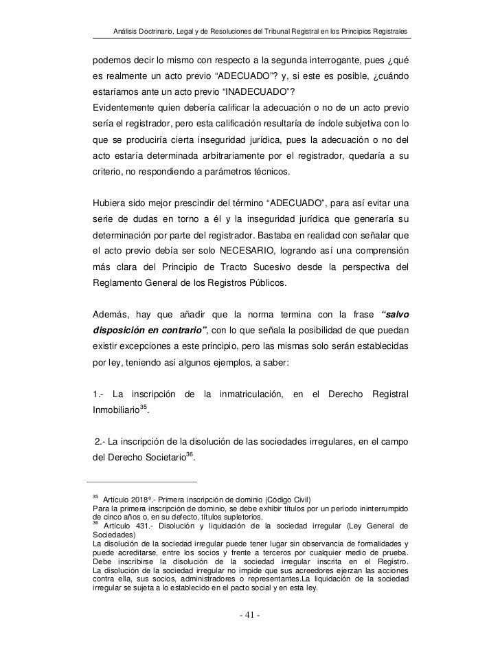 Análisis Doctrinario, Legal y de Resoluciones del Tribunal Registral en los Principios Registralespodemos decir lo mismo c...