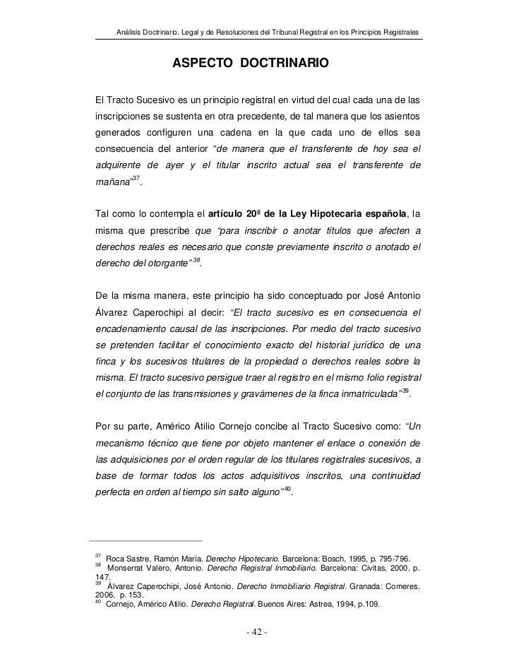 Análisis Doctrinario, Legal y de Resoluciones del Tribunal Registral en los Principios Registrales                      AS...