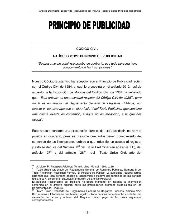 Análisis Doctrinario, Legal y de Resoluciones del Tribunal Registral en los Principios Registrales                        ...