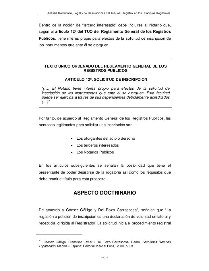 """Análisis Doctrinario, Legal y de Resoluciones del Tribunal Registral en los Principios RegistralesDentro de la noción de """"..."""