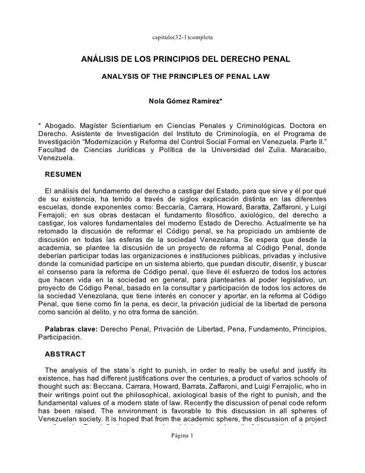 Analisis D Principios Del Derecho Penal