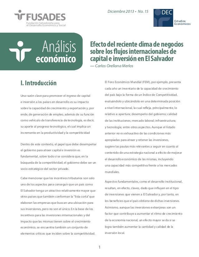 Diciembre 2013 • No. 15  DEC Estudios Económicos  Efecto del reciente clima de negocios sobre los flujos internacionales d...