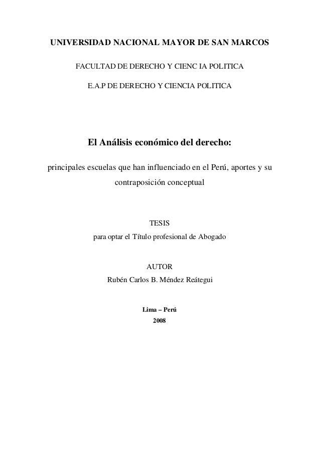 UNIVERSIDAD NACIONAL MAYOR DE SAN MARCOSFACULTAD DE DERECHO Y CIENC IA POLITICAE.A.P DE DERECHO Y CIENCIA POLITICAEl Análi...