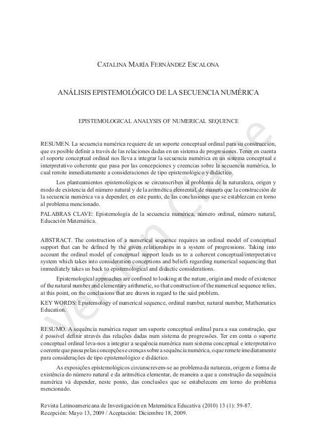 análisis epistemológico de la secuencia numérica 59  Relime, Vol. 13 (1), Marzo de 2010 Versión Clam e Catalina María Fe...