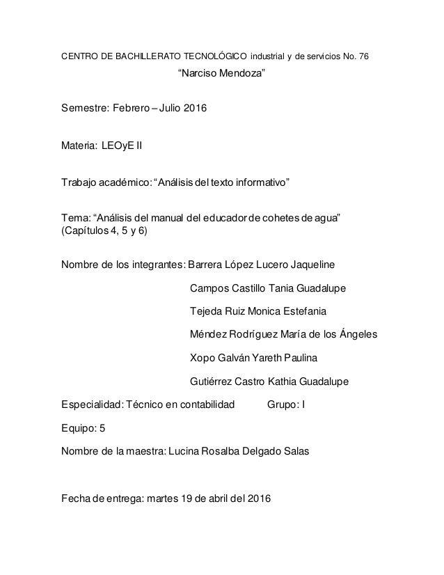 """CENTRO DE BACHILLERATO TECNOLÓGICO industrial y de servicios No. 76 """"Narciso Mendoza"""" Semestre: Febrero – Julio 2016 Mater..."""