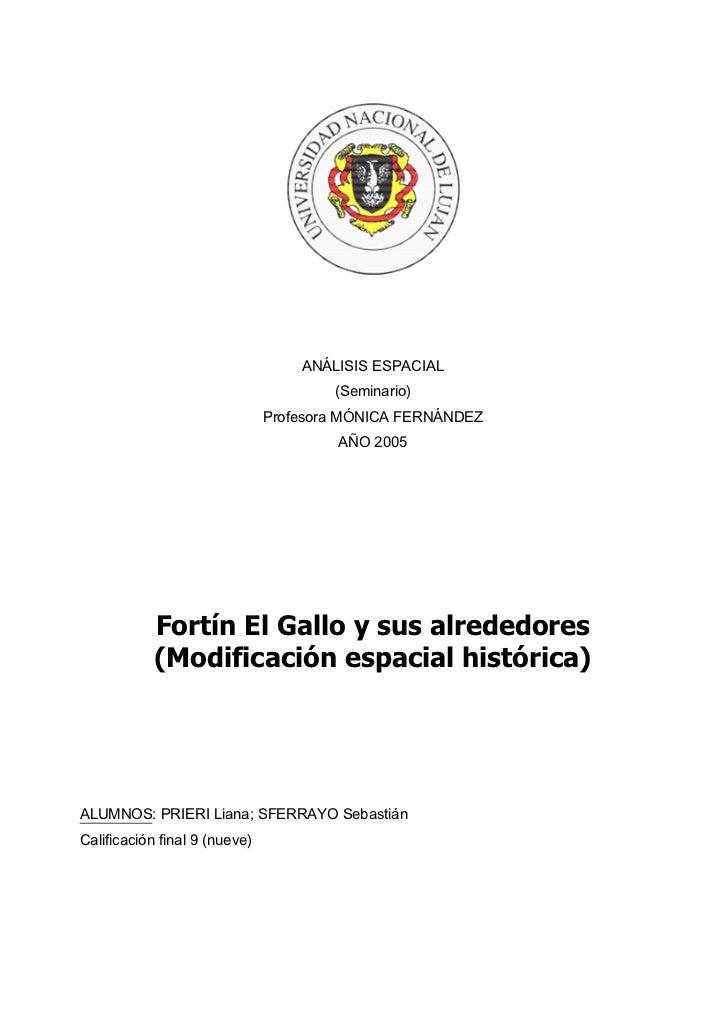 ANÁLISIS ESPACIAL                                       (Seminario)                               Profesora MÓNICA FERNÁND...