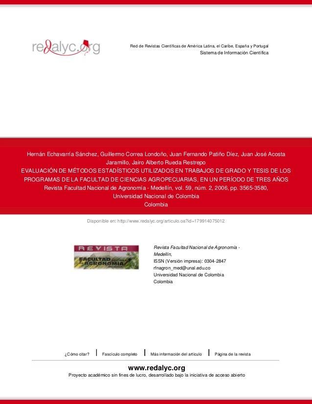 Red de Revistas Científicas de América Latina, el Caribe, España y Portugal  Sistema de Información Científica  Hernán Ech...