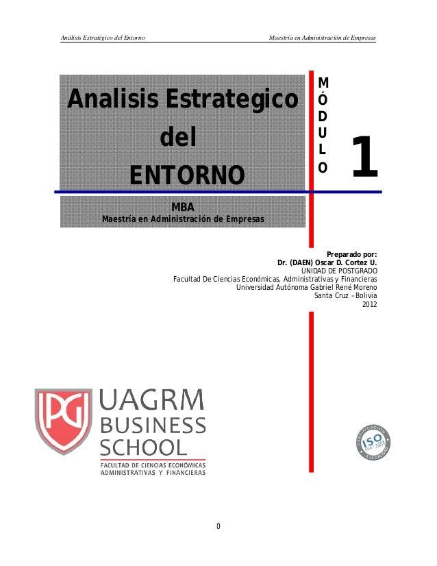 Análisis Estratégico del Entorno Maestría en Administración de Empresas 0 MBA Maestría en Administración de Empresas 1 Ana...