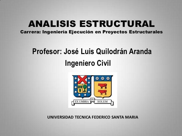 ANALISIS ESTRUCTURALCarrera: Ingeniería Ejecución en Proyectos Estructurales    Profesor: José Luis Quilodrán Aranda      ...
