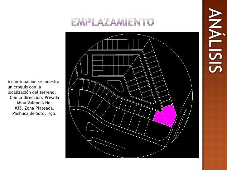 EMPLAZAMIENTO<br />ANALISIS<br />ANÁLISIS<br />A continuación se muestra un croquis con la localización del terreno: <br /...