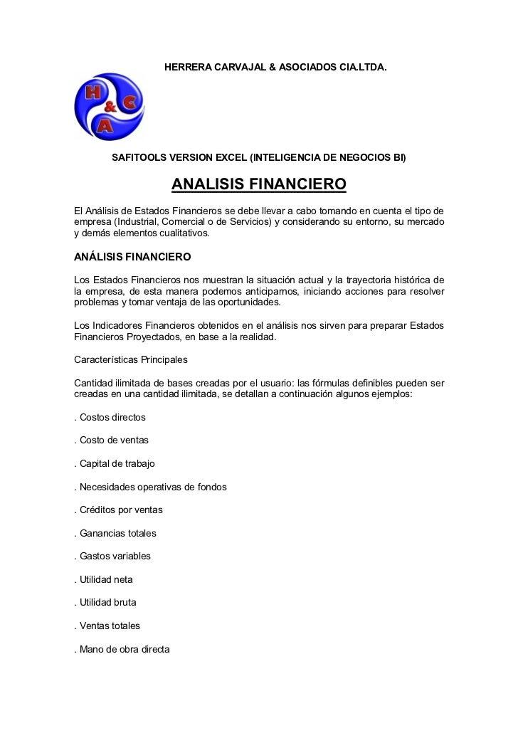 HERRERA CARVAJAL & ASOCIADOS CIA.LTDA.         SAFITOOLS VERSION EXCEL (INTELIGENCIA DE NEGOCIOS BI)                      ...
