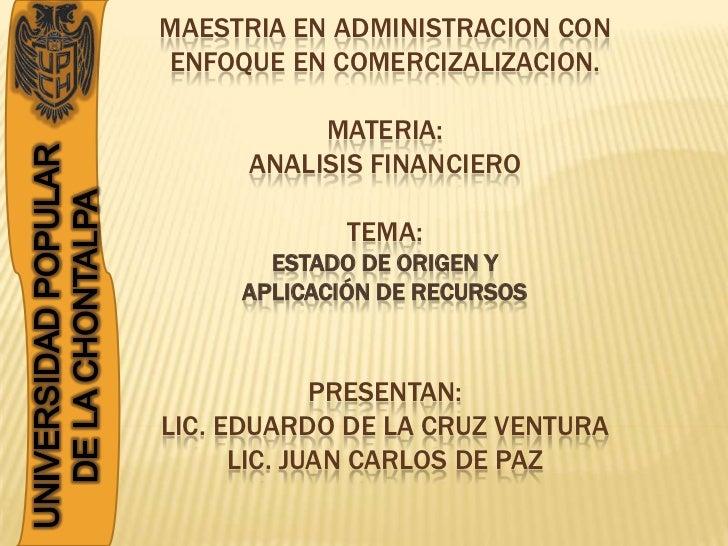 MAESTRIA EN ADMINISTRACION CONENFOQUE EN COMERCIZALIZACION.           MATERIA:      ANALISIS FINANCIERO             TEMA: ...
