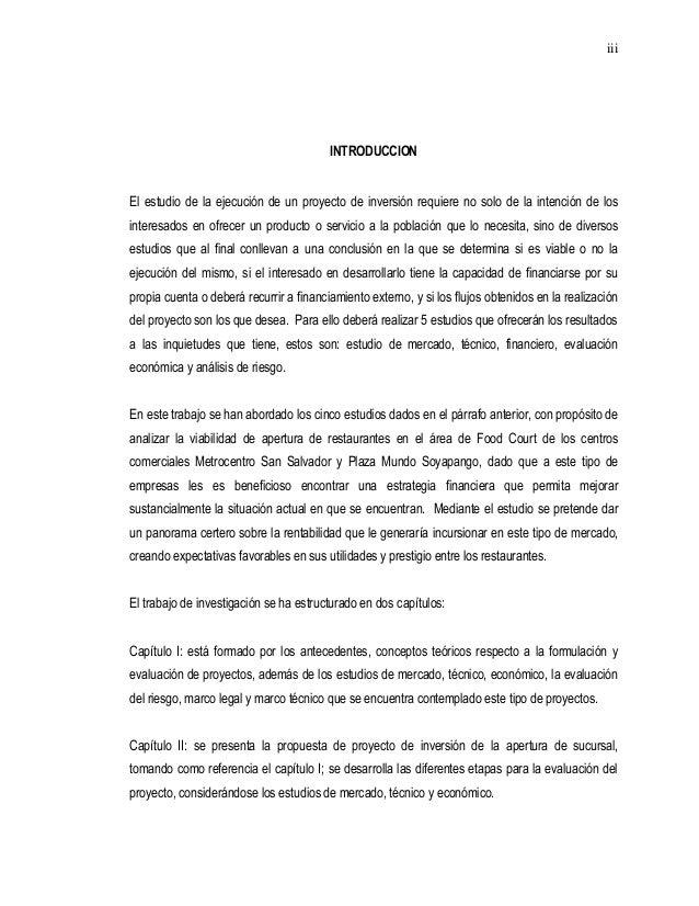 Analisis financiero restaurante for Proyecto de restaurante pdf