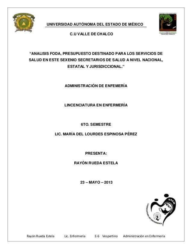 Rayón Rueda Estela Lic. Enfermería E-6 Vespertino Administración en Enfermería UNIVERSIDAD AUTÓNOMA DEL ESTADO DE MÉXICO C...