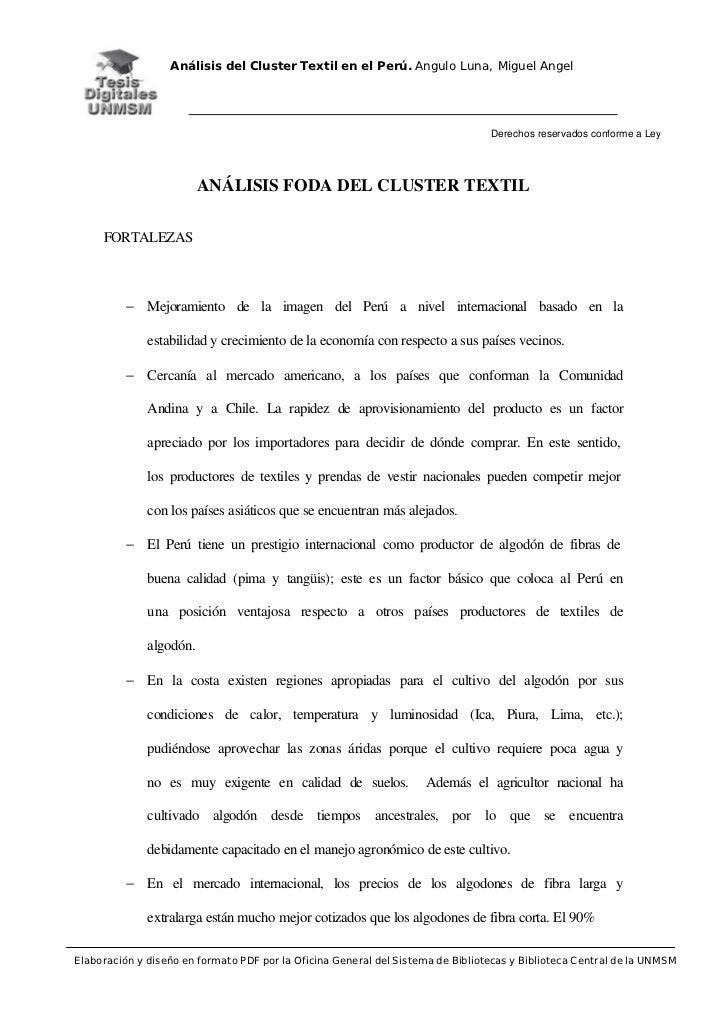 Análisis del Cluster Textil en el Perú. Angulo Luna, Miguel Angel                                                         ...