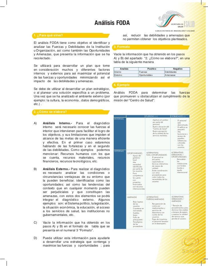 Análisis FODA1. ¿Para qué sirve?                                                 así, reducir las debilidades y amenazas q...