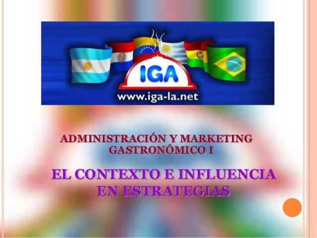 ADMINISTRACIÓN Y MARKETING  GASTRONÓMICO I  EL CONTEXTO E INFLUENCIA  EN ESTRATEGIAS