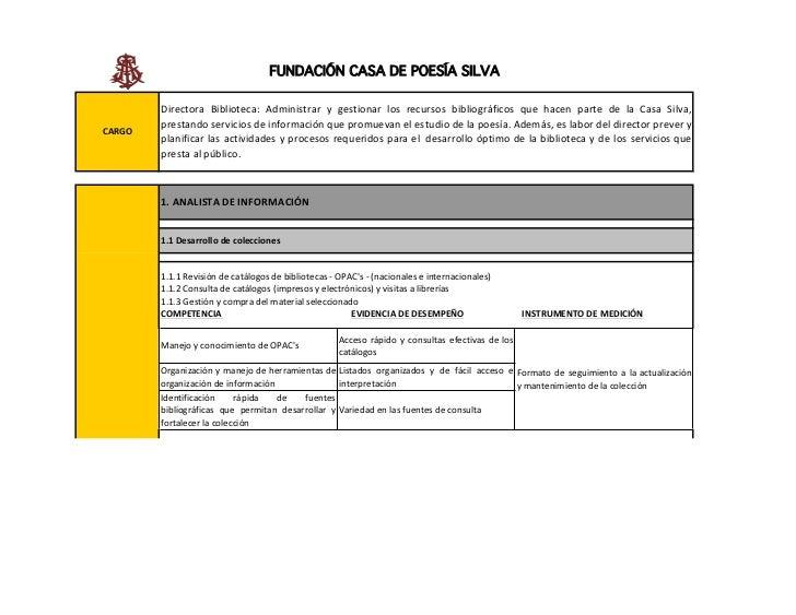 FUNDACIÓN CASA DE POESÍA SILVA        Directora Biblioteca: Administrar y gestionar los recursos bibliográficos que hacen ...