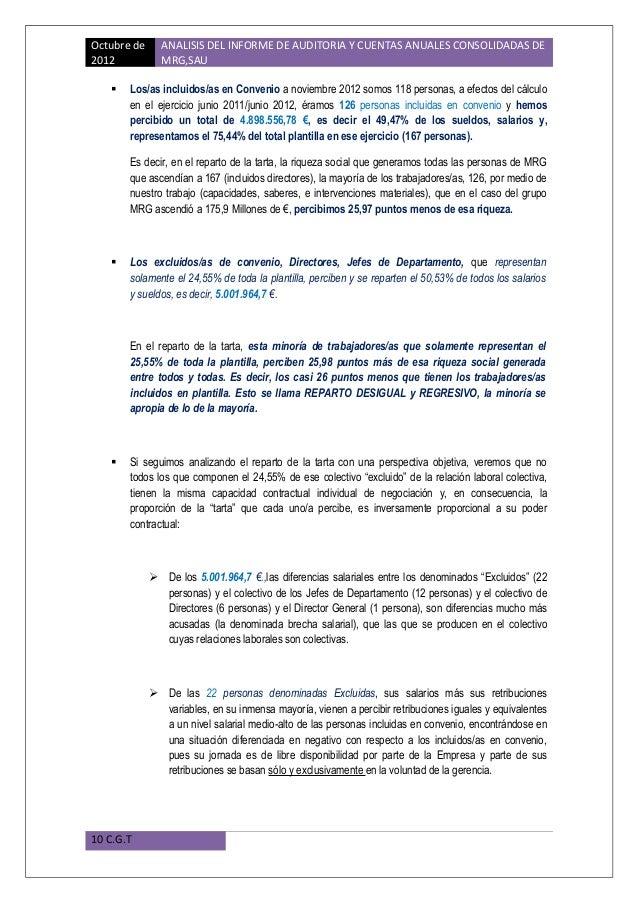 Analisis informe de auditoria cuentas anuales