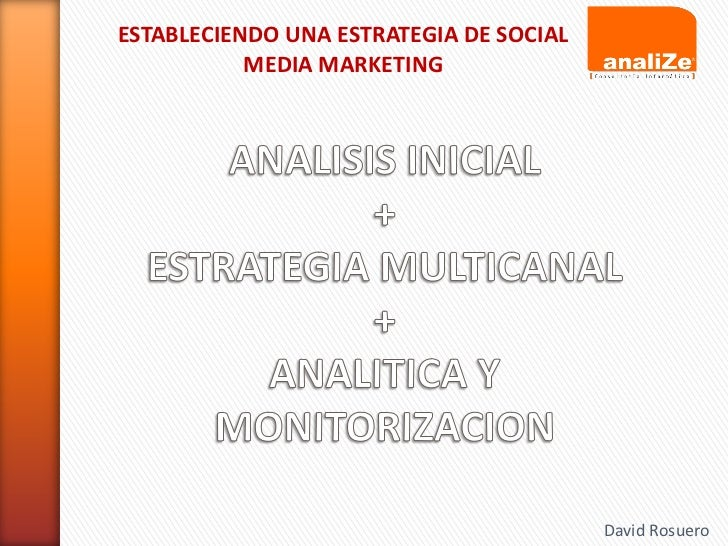 ESTABLECIENDO UNA ESTRATEGIA DE SOCIAL           MEDIA MARKETING                                         David Rosuero